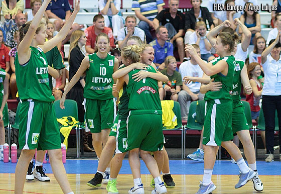 Lithuania celebrate their Final victory over Bulgaria